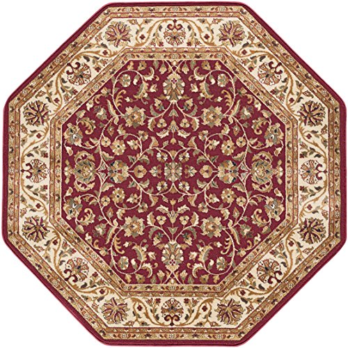Ventura Transitional Oriental Red Octagon Area Rug, 5' Octagon (Ivory Red Octagon Rug)