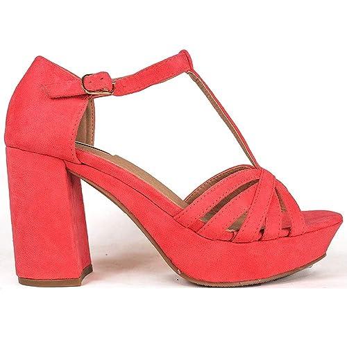 f77d09d783e La Valenciana Sandalia con Cuña y Plataforma para Mujer Buonarotti 1A-18031 Color  Coral  Amazon.es  Zapatos y complementos