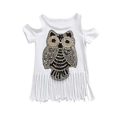 4b95786008886 Vêtements Fille Ete Oyedens Hibou Enfants Filles T-Shirts Fille 1 à 5 Ans  Hauts