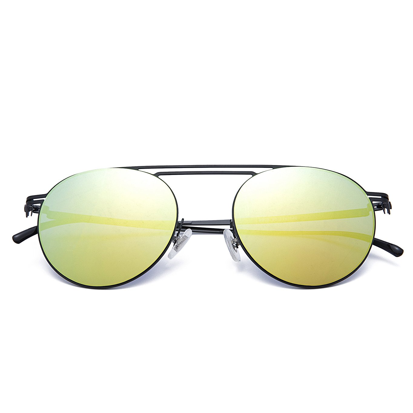 Round Fashion Metal Frame Sunglasses for men women, Sun Glasses Shades with Uv400 (yellow)