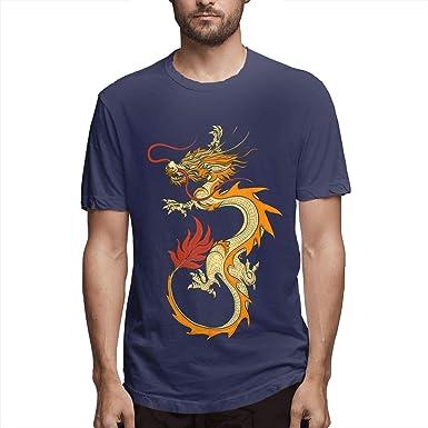 Diseñado para Hombres Casual Asian Dragon Chino Vintage Oriental Draghi Camiseta clásica de Manga Corta Negro: Amazon.es: Ropa y accesorios