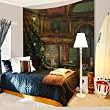 Christmas Decorations Tapestry Wall Hanging by IMEI, 3D Xmas Print Fabric Holiday Wall Art Hanging for Living Room Office College Dorm and Bedroom Mural (90 X 60 Inch, Fireplace Xmas Tree)