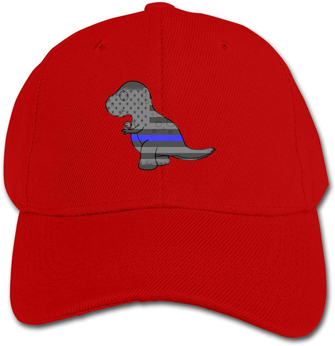 Blue Thin Line American Flag Dinosaur Kids Baseball Cap Hat Unisex Toddler Sun Hat Adsjutable Trucker Hat