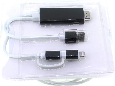 YF HDMI Cable, espejo tu teléfono móvil en TV Cable 10 pies 2 en 1 +