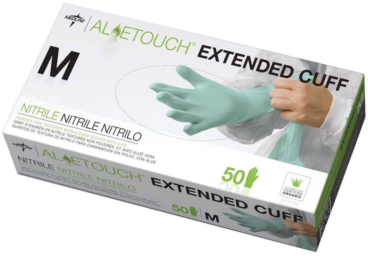 Medline MDS195185 Aloetouch Extended Cuff Chemo Nitrile Exam Gloves, Latex Free, 12'' Length, Medium, Green (Pack of 500)