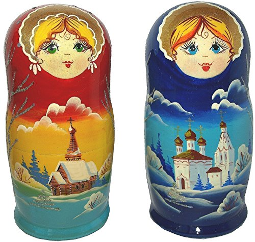 Unique Wooden Nesting Dolls - Christmas Russian-made Matryoshka Winter scene 5-Piece Set - Hand-painted Gift - Each Item Unique