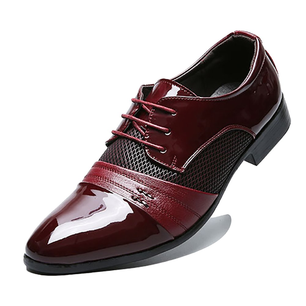 Rainlin Men's Breathable Leather Lined Perforated Dress Oxfords Shoes Wine Red US 11.5