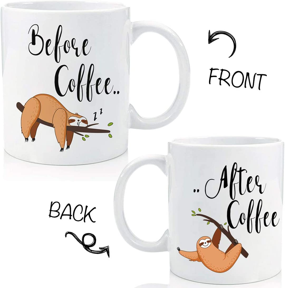 Cute Sloth Before After Office Coffee Mug Funny Gifts, Office Tea Cup, Sloth Lovers Mug, Friend, Employee, Coworker, Boss, Thanksgiving