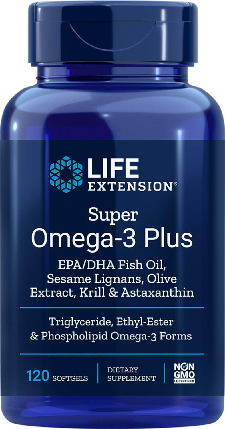 Life Extension Super Omega-3 (Fish Oil) Plus EPA/DHA With Sesame Lignans, Olive Extract, Krill and Astaxanthin, 120 Softgels (Packaging May Vary)