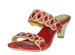 Women's Summer Fashion Open Toe Kitten Heel Slip On Dress Sandals Red PU Size 9 EU41