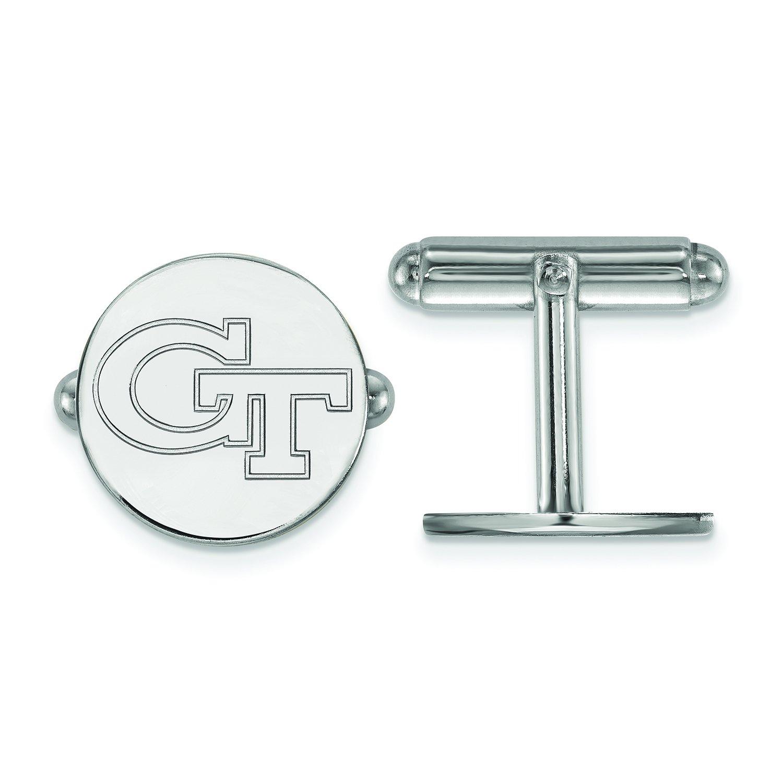 LogoArt Georgia Tech Yellow Jackets GT Cuff Links (Sterling Silver)