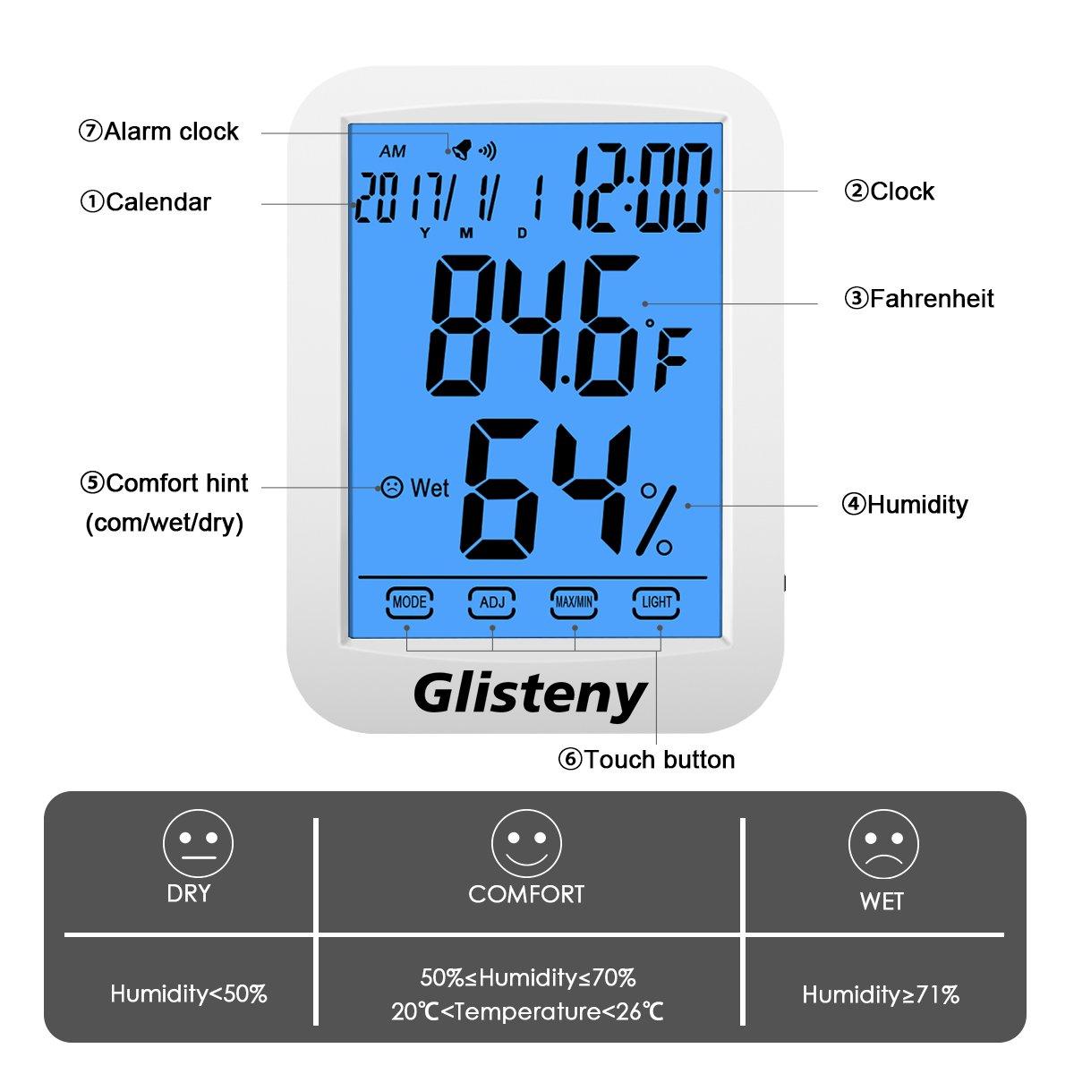 Thermomètre Hygromètre Intérieur,GLISTENYThermomètre Interieur Numérique à écran LCD Tactile,Moniteur de Température et d\'humidité avec horlogie calendrier