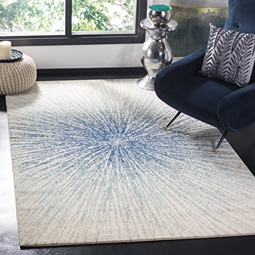 Rug Blue Royal (Safavieh Evoke Collection EVK228A Contemporary Burst Royal Blue and Ivory Area Rug (5'1