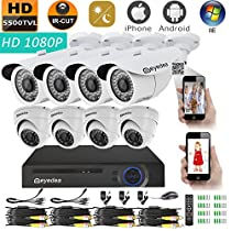 Eyedea Security 5500TVL 1080P AHD Remote Phone View Video Surveillance DVR Bullet Outdoor Dome Indoor 2.0MP Megapixel 8 Waterproof IR LED Night Vision CCTV Security Camera System