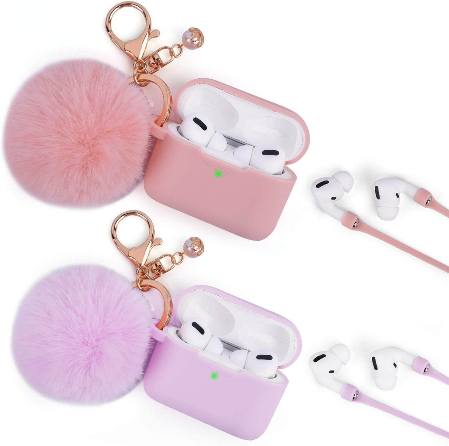 Case for Airpods Pro, Filoto Airpod Pro Cases Cover for Apple AirPods Pro Wireless Charging Case, Cute Air Pods 3 Case Silicone Protective Accessories Keychain/Pompom/Strap 2019 (Pink+Light Purple)