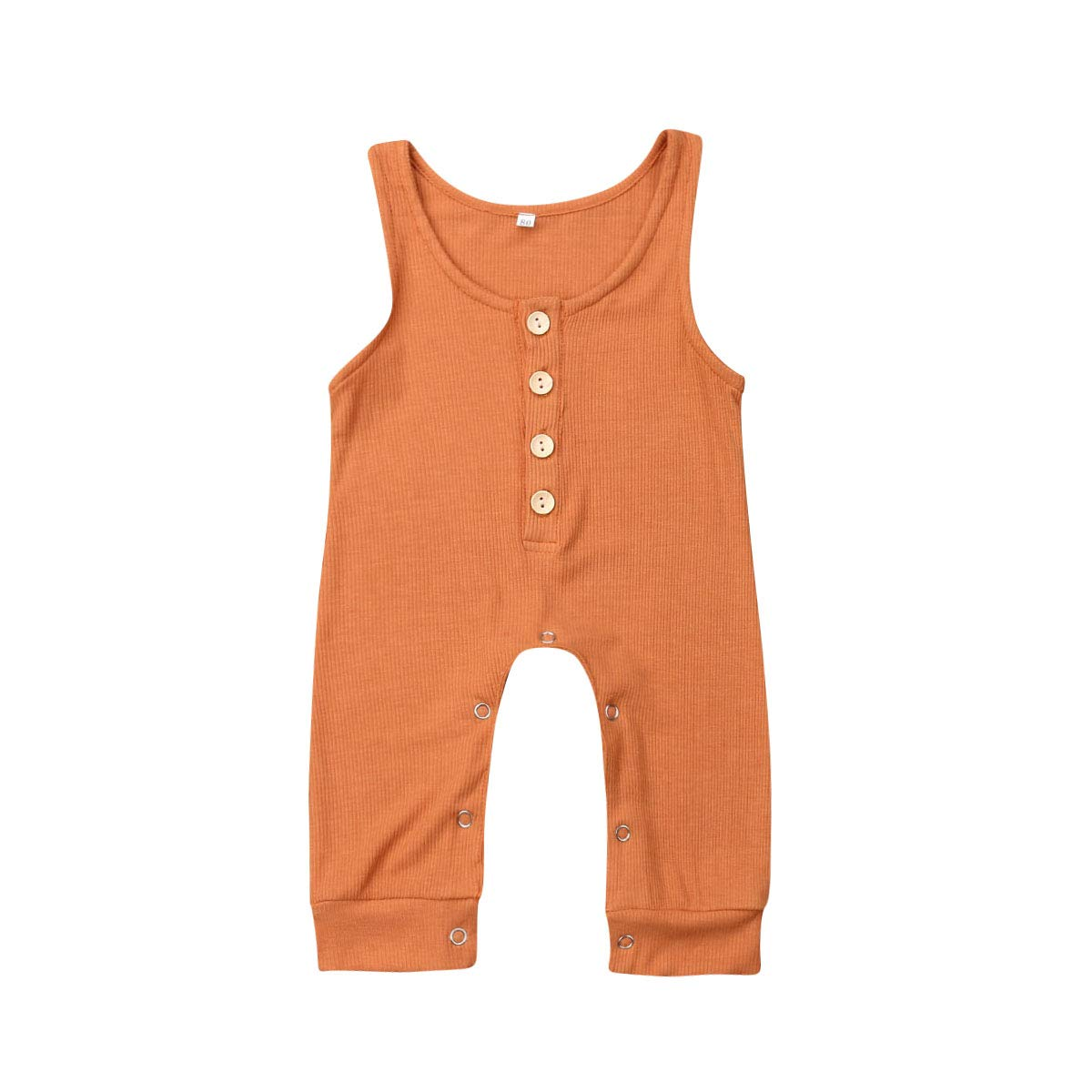 Lzxuan Newborn Baby Sleeveless Romper One-Piece Button Down Bodysuit Cotton Footed Clothes
