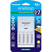 Panasonic Advanced Individual Rechargeable AA Battery USB Charger with 4-Pack Eneloop AA Batteries