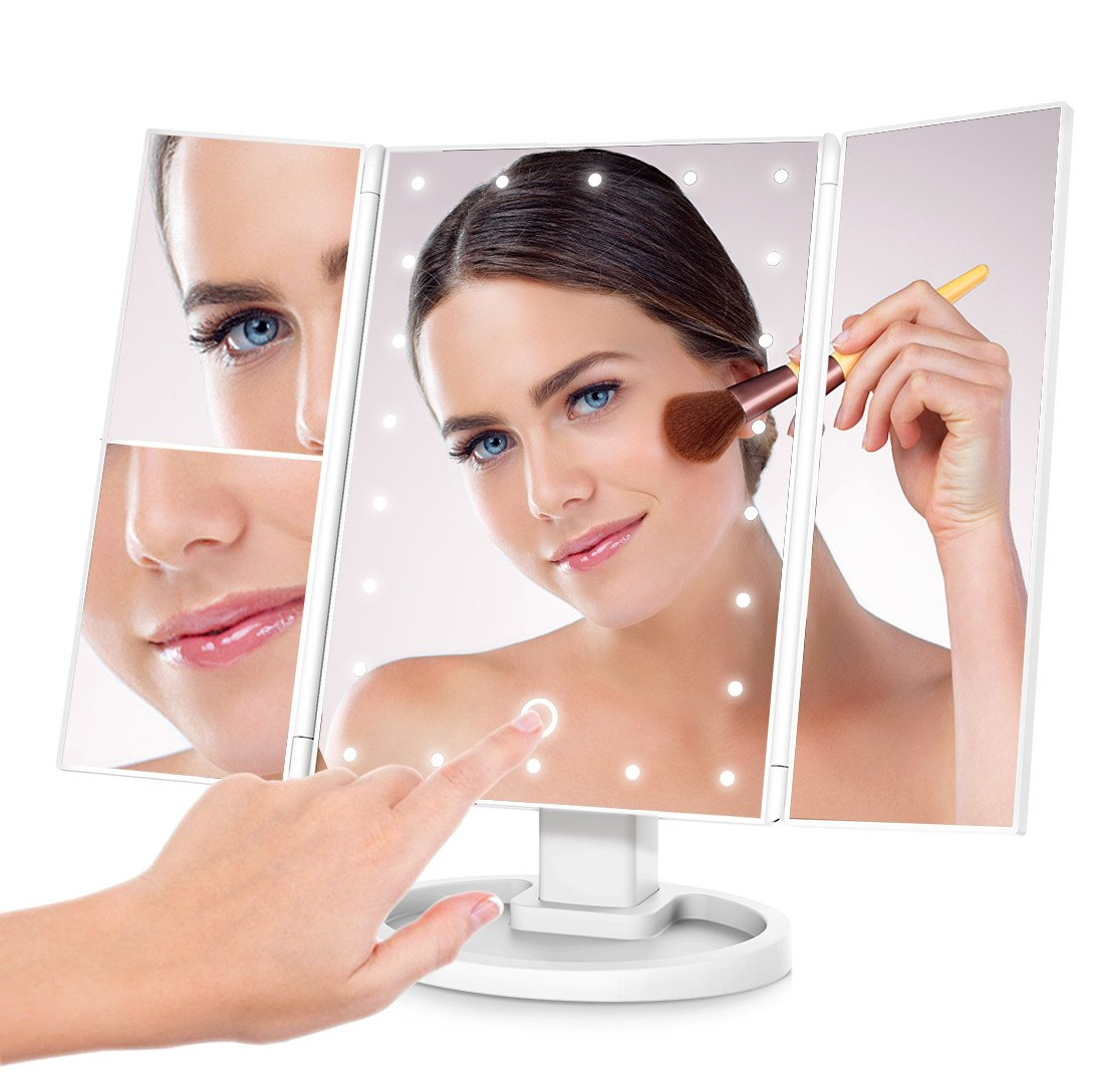 Lighted Makeup Mirror, CoCoHomie LED Makeup Vanity Mirror with 22pcs Lights, Ultra Portable Touch Screen & 2x/3x Magnifying & Dual Power Supply Trifold White Mirror