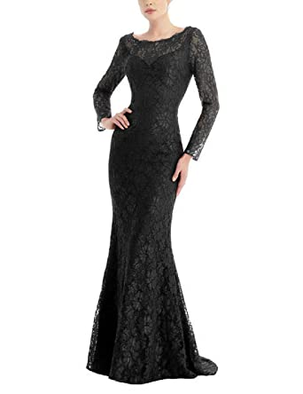 971d11fe19fb YSMei Women s Vinatge Long Wedding Guest Dresses Long Sleeve Mermaid Formal  Gowns Backless Black 2