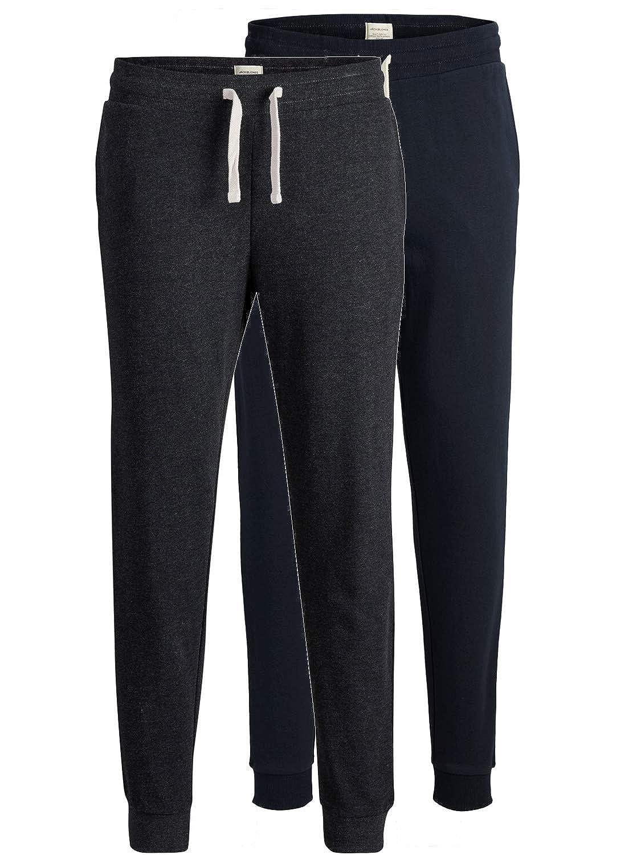 JACK & JONES 2er Pack Set Herren Jogginghosen Sweatpants aus Baumwolle schwarz, blau, grau, dunkelgrau mit Bü ndchen lang Slim Fit Gratis Wä schenetz von B46