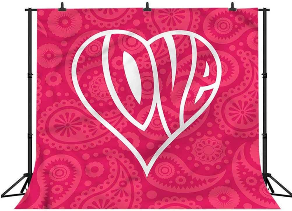 5x5FT Vinyl Photography Backdrop,Groovy,Retro Big Heart Photo Background for Photo Booth Studio Props