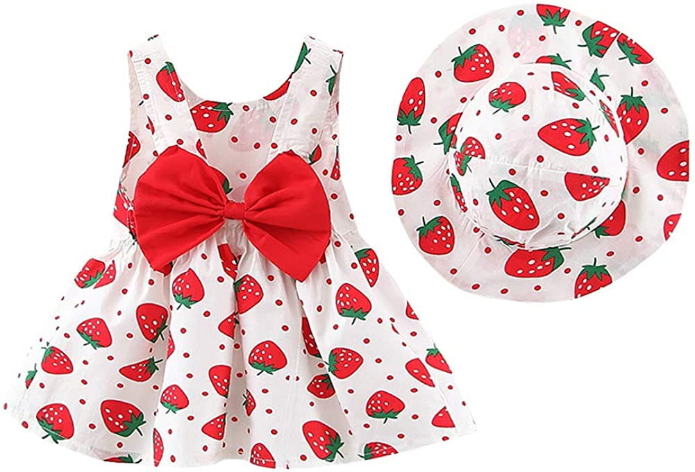 IMEKIS Toddler Newborn Baby Girls Sleeveless Sundress Flower Lovely Print Rainbow Bowknot Tutu Princess Summer Clothes Wedding Birthday Holiday Party Dress with Hat Outfit