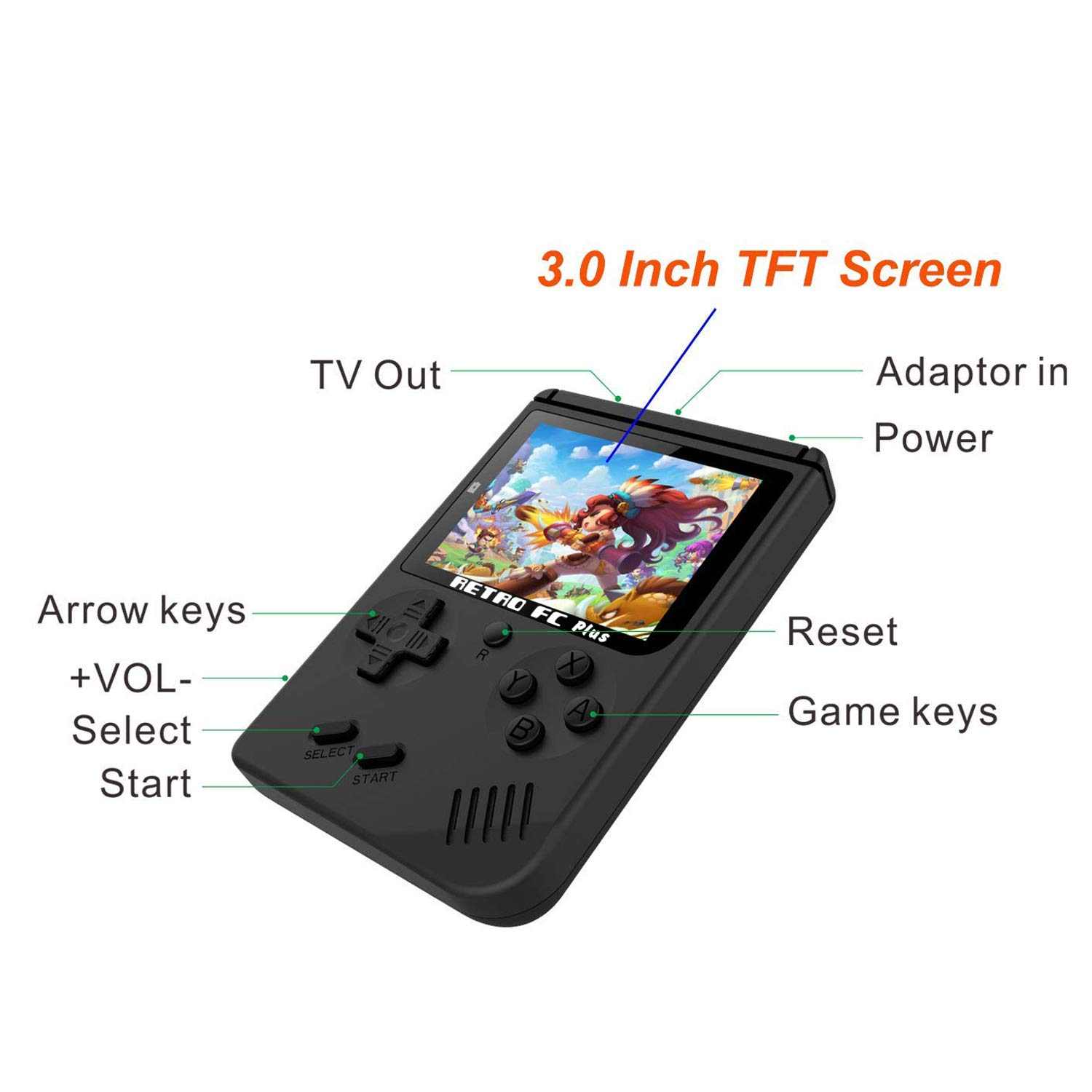 Handheld Game Console with 3 Inch 168 Classic Games, Retro FC Game Console,Entertainment System Video Game Console , Birthday Present for Children by BAORUITENG (Image #3)