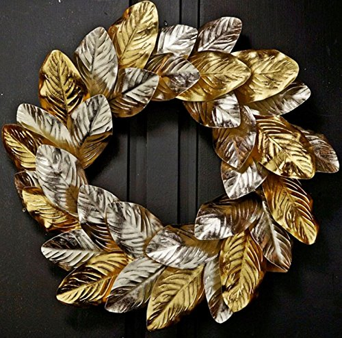 JMB Home and Design Christmas Holiday Grapevine Wreath of Platinum & Gold Metallic Magnolia Leaves 16 in Diameter ()