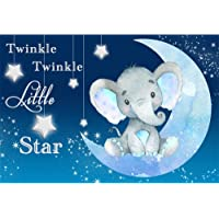 AWERT 2,2x1,5m Elephant Theme Baby Shower Backdrop Baby Shower Decorations for Girl Boy Moon and Stars Decor Twinkle…