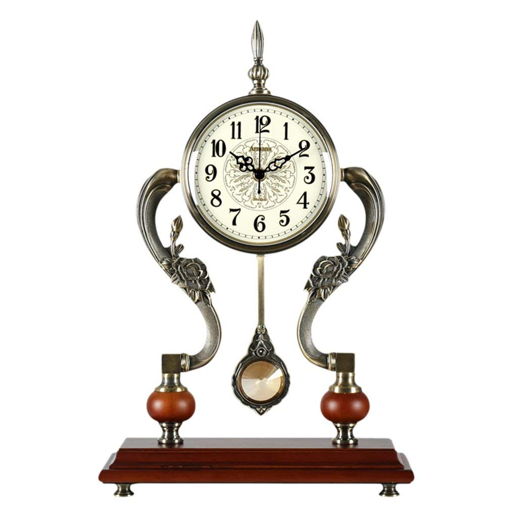 Amazon.com: Family Fireplace Clocks Vintage Creative Mute Desktop Clock Silent Meteo for Living Room with P é Pendulum Movement Suitable for Bedroom Living ...