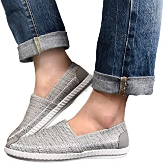Moonuy Hommes Style Simple Chaussures Hommes Linge Toile Chaussures en Toile Respirant Casual Appartements Confortable Conduite Chaussures Glissement sur Chaussures Chaussures de Cheville pour 2019