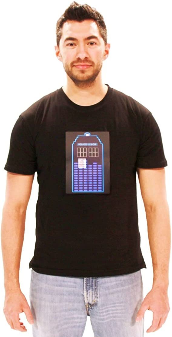 Doctor Who Tardis Sound Activated LED Mens Black T-Shirt