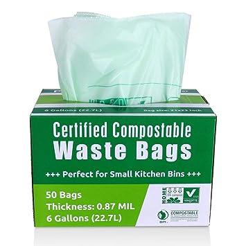 Primode bolsas de basura compostables, alimentos bolsas de basura, 100% astm13400 Certificado biodegradables