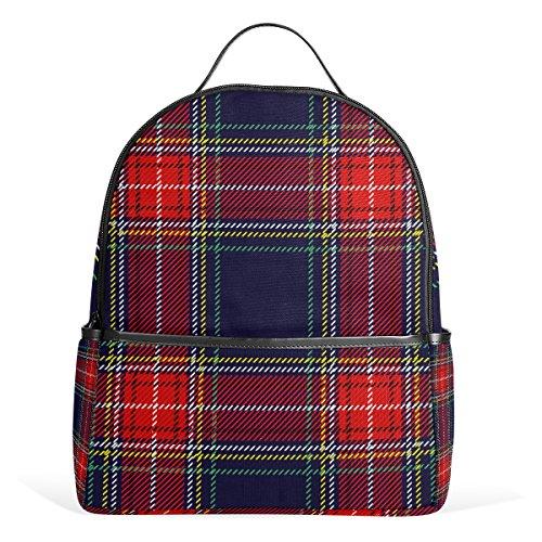 Top Carpenter Scottish Plaid Checker School Backpack Daypack Rucksack Shoulder Bag for Student 12.6x5x14.8in