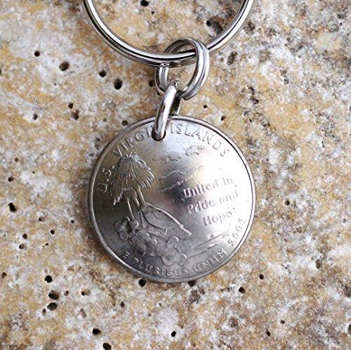 U.S. Virgin Islands Domed Coin Keychain U.S. Territories Quarter Key Ring 2009