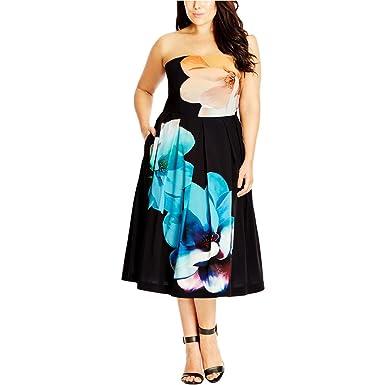Designer Plus Size DRESS SUPER BLOOM - Black - 24 / XXL | City Chic ...