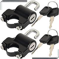 GZhaizhuan - 2 candados universales para casco de motocicleta, con 4 llaves, 4 arandelas, 4 tornillos, 2 llaves (negro)