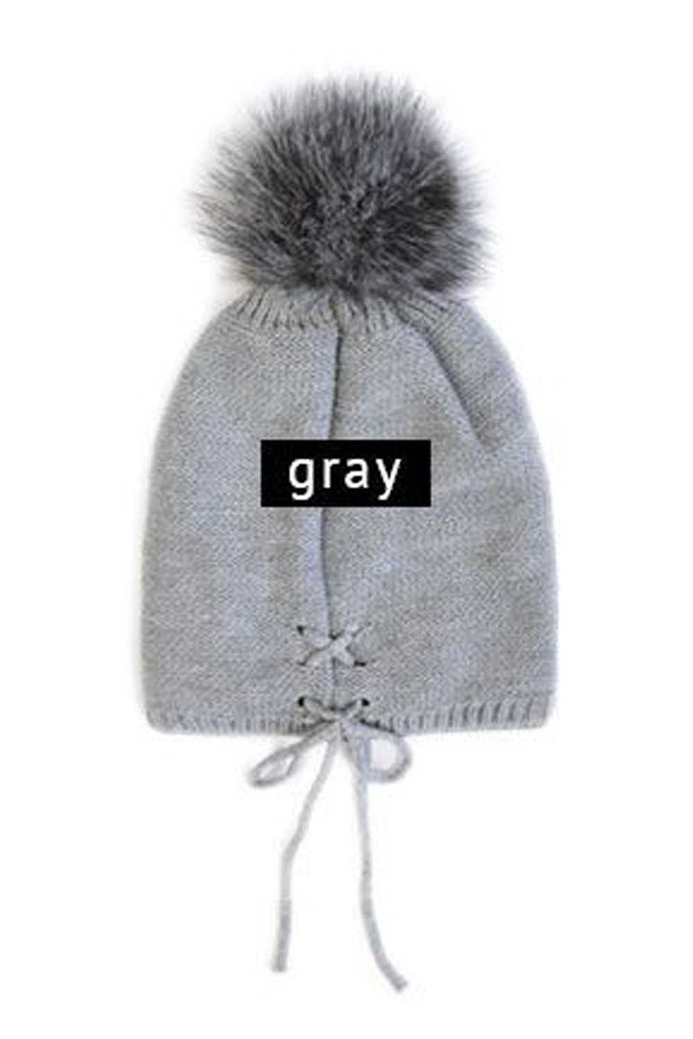 Womens Knitted Top Pom Pom Laced Up Winter Beanie Hat SBH-1631 (Grey)