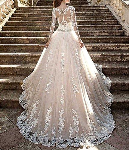 ANJURUISI Mujeres Vestidos de encaje de la boda Vestidos de novia de manga larga vestidos de baile 2017: Amazon.es: Ropa y accesorios