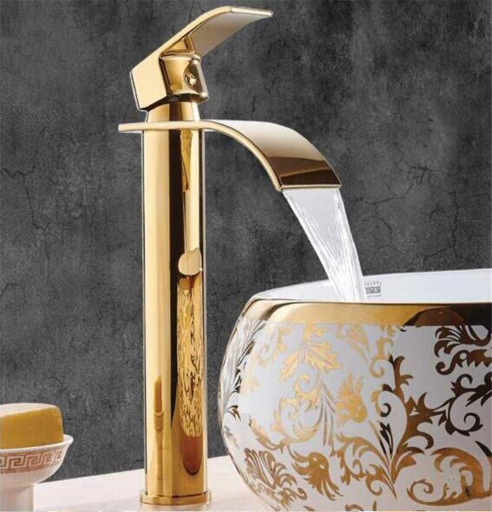 Neuheiten Gold Waschtischarmaturen Wasserfall Bad Wasserhahn Einhebelmischer Mischbatterie Bad Wasserhahn Messing Waschbecken Wasser Kranhahn