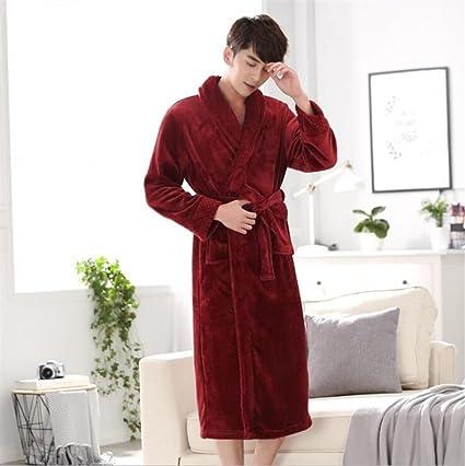 DDOQ Long-Type Franela Albornoz Pareja Albornoz Cálido Camisón Pijamas de Invierno-Vino Rojo