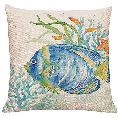 LTEXT Ocean Beach Outdoor Throw Pillow Covers Case Sea Fish Decorative Sea Coastal Theme Decor Cushion Square Pillowcase 18x18 Crab Decorations for Patio Couch Sofa,Marine Animals