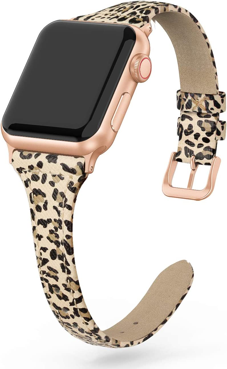 SWEES Leather Band Compatible for iWatch 38mm 40mm, Slim Thin Dressy Elegant Genuine Leather Strap Compatible iWatch Series 6, Series 5 Series 4 Series 3 Series 2 Series 1 SE Sport Edition Women, Leopard Skin