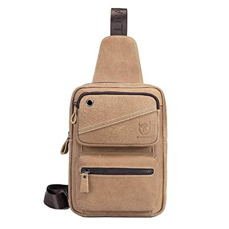Xieben Vintage Leather Sling Chest Pack Crossbody Bag Shoulder Backpack  Rucksack Daypack for Sport Travel School f37b9623ab9c9
