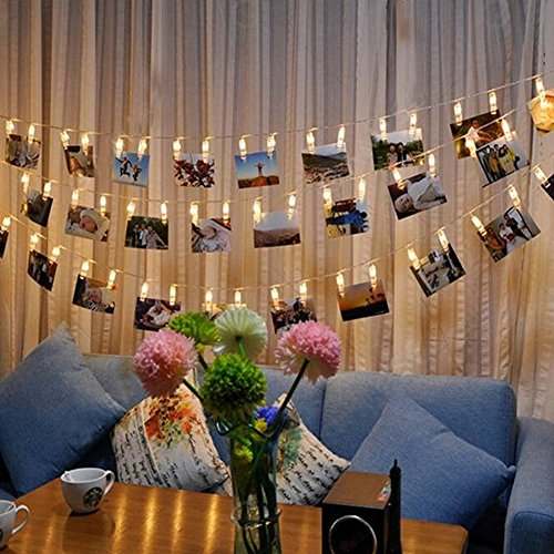 ANGTUO 20 LED Photo Clip Fairy String Lights Battery Powered for Pretty Photo Artwork Hanging Pictures Christmas Party Indoor Decoration (Cards Stairs Christmas On Display)