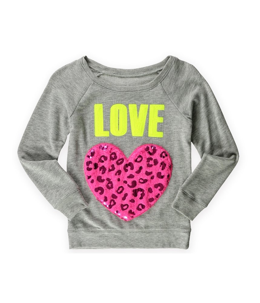 Justice Girls Love Heart Pullover Sweater Grey 5 - Little Kids (4-7)