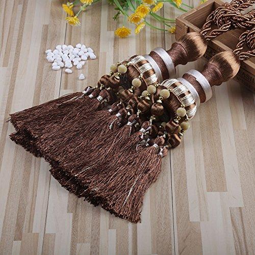 KISENG 1 Pair Beaded Tassels Curtain Tiebacks Rope Holdbacks for Bedroom (G Light Brown) (Curtains Brown Beaded)