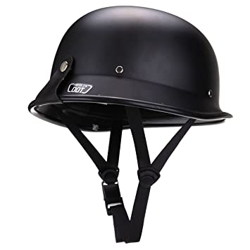Ambienceo Black DOT Approved ABS Plastic German Adult Style Half Face  Motorcycle Helmet for Curiser Touring Scooter (L)