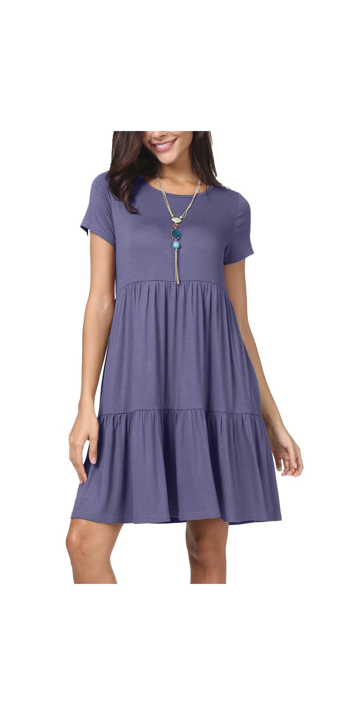 Women Summer Short Sleeve Ruffle Loose Swing Casual T
