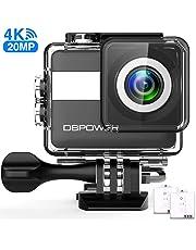 DBPOWER N6 Action Cam HD 4K 20MP WiFi Con Microfono Esterno Fotocamera Sott'acqua 30M con EIS Stabilizzazione Videocamera Impermeabile 170° Grandangolare Time Lapse/2 Batterie 1200mAh
